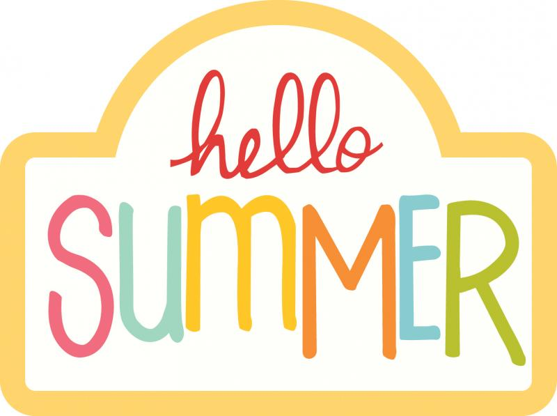 Hello Summer sign with different color letters and yellow border